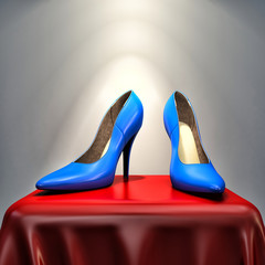 blue high heels shoe