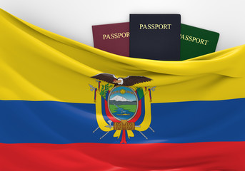 Travel and tourism in Ecuador, with assorted passports