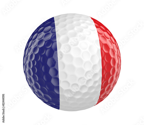 Papiers peints Golf Golf ball 3D render with flag of France, isolated on white