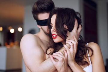 Sensual couple foreplay