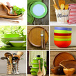 collage of different wood and organic utensils - 82447936