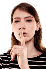 Shhhhh Woman! Finger On Lips. Silent - Silence Stock Image