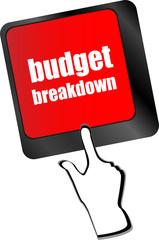 budget breakdown words on computer pc keyboard vector