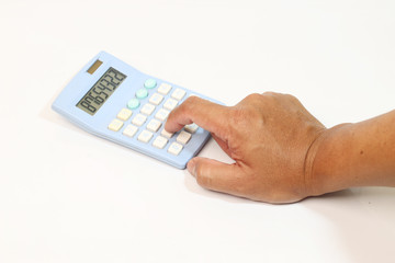 Hand with calculator isolated on white background.