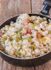 lemon risotto with bacon and peas