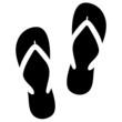 Ein Paar Flip-Flops, Icon, schwarz, Vektor, freigestellt - 82455770