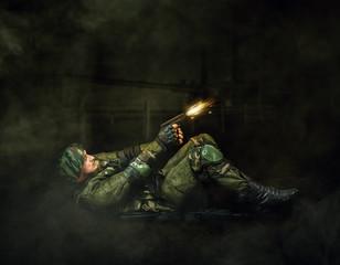 Military man soldier shooting  of handgun