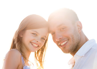 happy father and child girl having fun