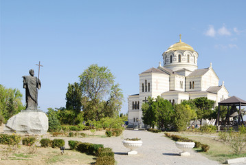 Monument  Apostle Andrew and Vladimir's Cathedral in Chersonese.