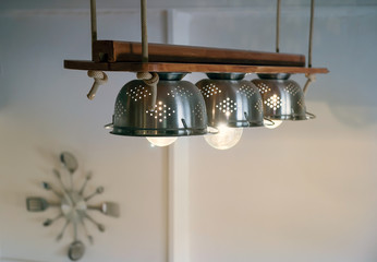 beautiful diy kitchen equipment, lamps,ropes, wood on ceiling
