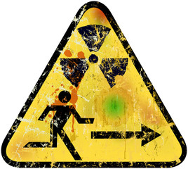 nuclear radiation emergency exit sign, vector illustration