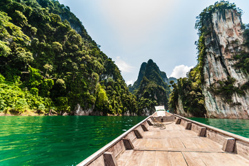 Longtail boat at Cheow Lan Lake, Thailand
