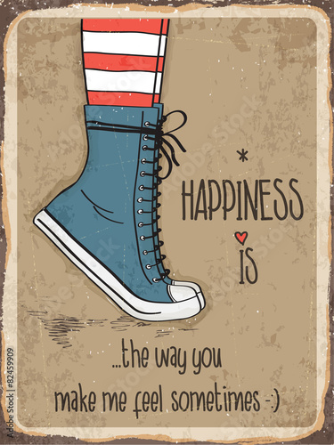 Retro metal sign about happiness © Claudia Balasoiu