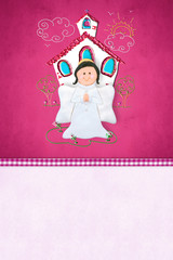 First Communion or baptism reminder card for girl