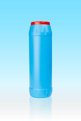 Blue plastic bottle of cleaning detergent powder