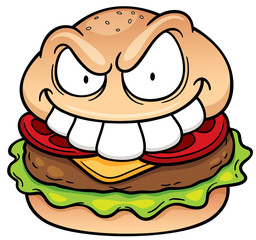 Vector illustration of Cartoon hamburger