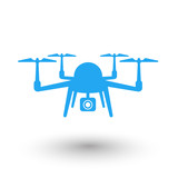 Drone, Multicopter, Quadrocopter with Camera flat icon poster