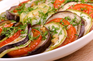 ratatouille, roasted vegetables, arranged in layers, macro