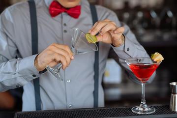 Garnishing cocktail glass