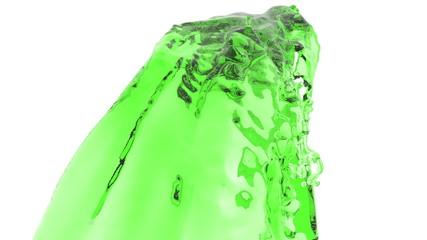 liquid stream. splashes. Liquid flow flies into the camera