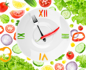 Food clock with vegetables