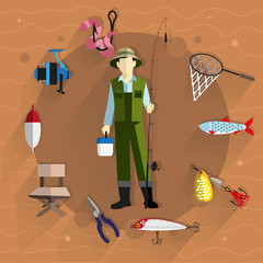 Fisherman and fishing tackle