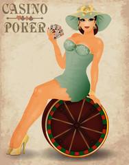 Casino poker beautiful pin up girl, vector illustration