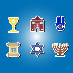 set of color icons with  jewish symbols for your design