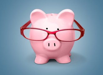 Piggy Bank. Pink piggy bank wearing glasses