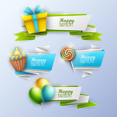 Set of birthday banners. Vector illustration.