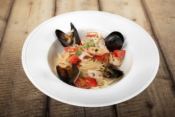 Pasta. Pasta with seafood