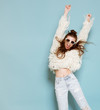 Leinwandbild Motiv portrait of cheerful fashion hipster girl going crazy making