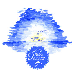 Vector illustration, background - sea and steamship
