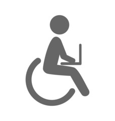 Disability man with notebook pictogram flat icon isolated on whi