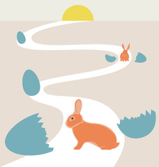 Way of rabbits hatched from the egg to the sun in vintage colors