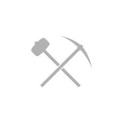 A simple icon with a pick-axe and hammer.