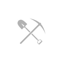 Simple icon shovel with a pick-axe.