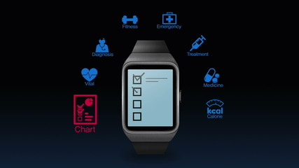 Health care application function for smart watch(included Alpha)