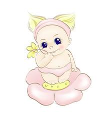 baby girl on flower