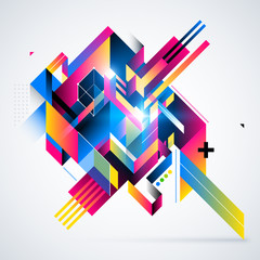 Abstract geometric element with colorful gradients