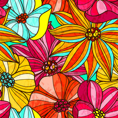 Seamless floral bright pattern. Large colorful flowers