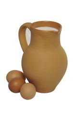 Кувшин из глины с молоком и куриными яйцами