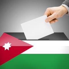 Ballot box painted into national flag - Jordan
