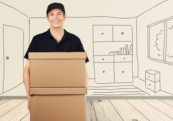 Delivering. Deliveryman With a Package - Isolated