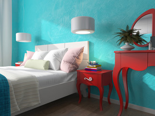 bedroom with turquoise walls and bedside tables