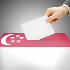 Ballot box painted into national flag - Singapore