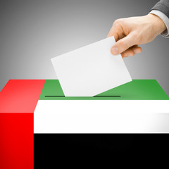 Ballot box painted into national flag - United Arab Emirates