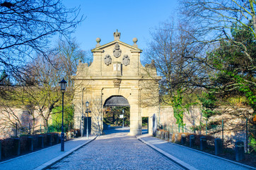 gate leading to vysehrad in prague