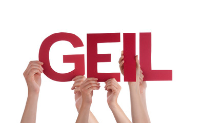 People Holding Straight  Word Geil Means Cool
