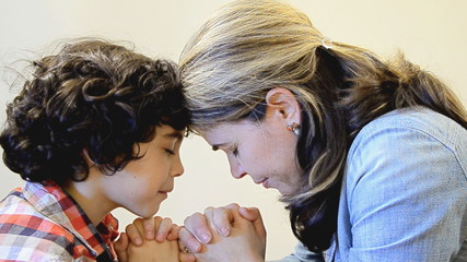 Religious Christian Small Family of Mother and Son Praying